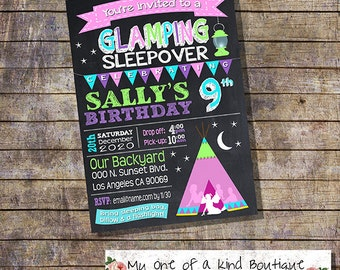 Glamping birthday invitation sleepover party camping glam camp out invite chalkboard digital printable invitation 13777