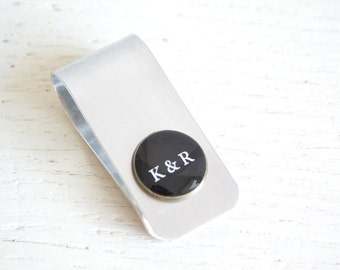 Custom money clip - industrial silver and brass personalized money clip handcrafted in the USA - great gift for him and the groomsmen