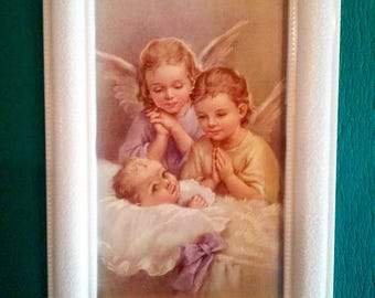 Angel Babies Print - Vintage  Religious Print in Art Deco Bakelight Frame - Home Decor