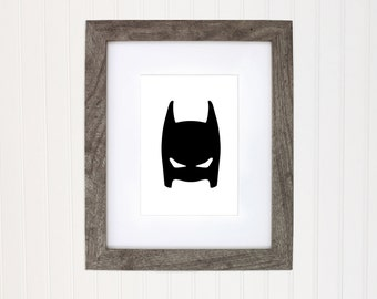 Batman superhero art print, super hero wall art print, boys room super hero batman decor