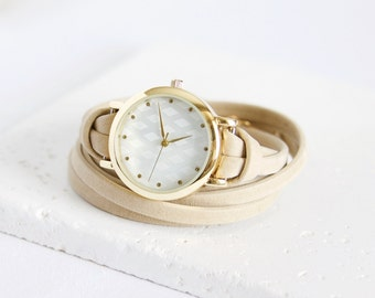 Leather Wrap Watch Bracelet | gold with beige leather | Ladies watch