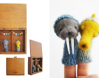 Wall Art, a Vintage Shadow Box with Felted Walrus and Seahorse FINGER PUPPETS, Nursery or Children's Room Decor, Eco Friendly Toy