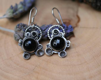 Black onyx and spinel earrings, sterling silver gemstone earrings