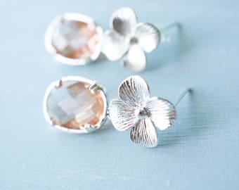 Earrings, pale pink crystal and silver flower earrings