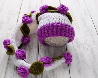 Newborn crochet Hat. Newborn hood. hood with a flowers. long hood. striped hood. Photo prop Cap. RTS