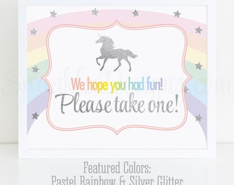 We hope you had fun Please take one Party Favor Sign, Printable Rainbow Unicorn Birthday Party Decorations, Unicorn Party Favor Printables