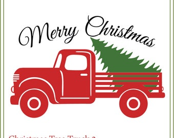 Christmas Tree Truck SVG, Red truck svg, Rustic, Country, Farm Christmas, download for signs, printables, cards, iron on, glass blocks, svg