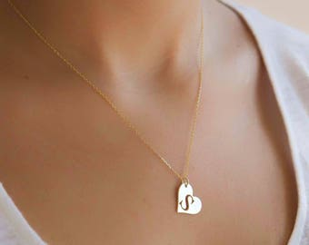 Initial Heart Necklace | Heart Necklace | Personalized Heart Pendant | Gift For Her | Unique Gift For Wife | Pendant Necklace with Initial