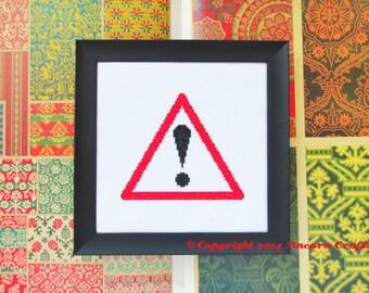 Warning Road Sign Cross Stitch Pattern PDF
