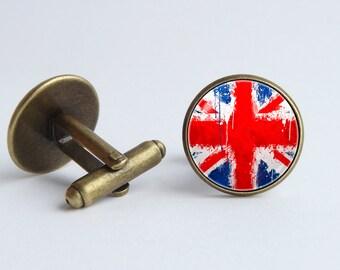 Union Jack cufflinks British flag cufflinks Flag cufflinks Wedding gift United Kingdom Patriotic gift UK flag cuff links UK jewelry National