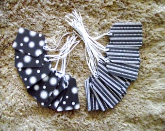 25 - PRESTRUNG -  Glittered Cardstock Tags - Black and White -  Free Secondary Shipping