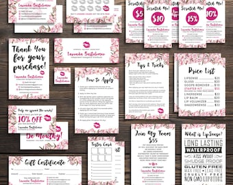 LipSense Ultra Value Bundle Pack, LipSense Business Cards, LipSense Marketing Kit, Printable Digital Files, LipSense Pink Flower, LIPVPB002