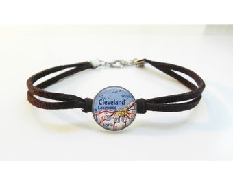 Cleveland Ohio Map Bracelet - Vintage Map - Leather Bracelet -  Map Jewelry