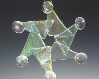 WHIRL Clear Iridized Snowflake, Fused Glass Ornament Suncatcher