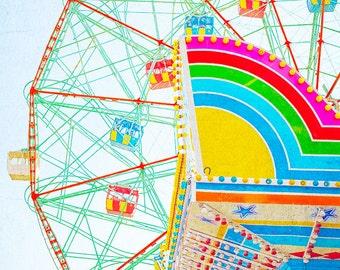 Thrills Wonder Wheel Coney Island// boardwalk Carnival Photography // Kids Room Nursery Art // Photography Coney Island Wonder Wheel Print