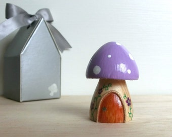 Teeny Tiny Wooden Fairy House - Lavender Toadstool / Mushroom - Personalized available