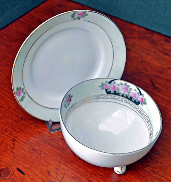 Vintage 1930s Japanese NIPPON Sauce-MAYONAISE BOWL Footed W/ Matching Under Plate Hand Painted  Exc Condition