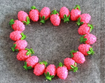 simulation strawberry fruit vegetable model charms DIY jewelry findings