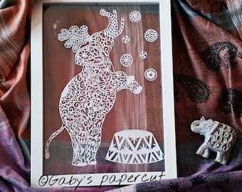 Elephant papercut. Hand draw and hand cut.