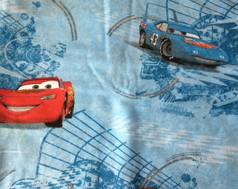 Car's, Disney Pixar, twin flat sheet and standard pillowcase, blue color, Thunder after Lightening, pre-owned,  good condition