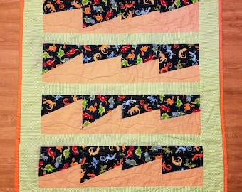 Baby Boy Quilt Dinosaurs and Lizards