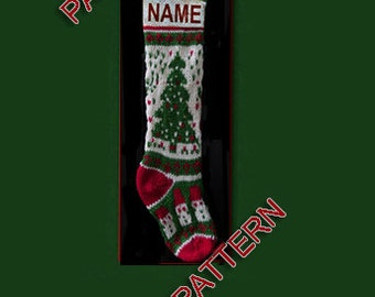 Hand knit Christmas stocking,  pattern only, Christmas tree and snowmen
