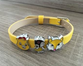 Yellow faux leather adjustable charm bracelet