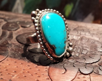 Sterling silver vintage native American turquoise ring size 5 1/2