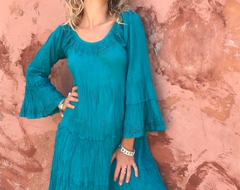 Magical turquoise boho dress with beautiful hand embroidery
