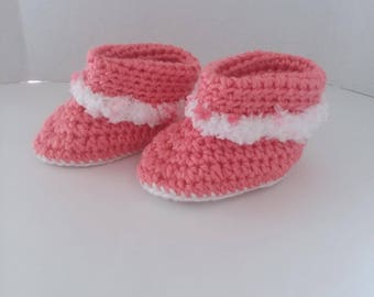 Pink Cuffed Boots with Fur Size 3-6 Months