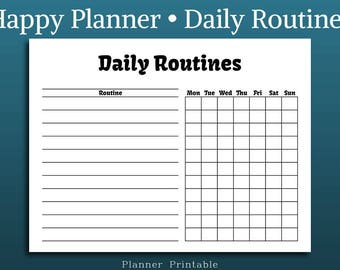 Daily routines - Happy Planner Insert • Planner Insert Printable • MAMBI Planner Refill • MAMBI Pages  Mambi Printable Classic Happy Planner