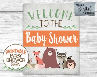 INSTANT DOWNLOAD - Printable Woodland Animal Welcome To The Baby Shower Sign / Forest Animals / Gender Neutral Decoration / Fox / JPEG WA001
