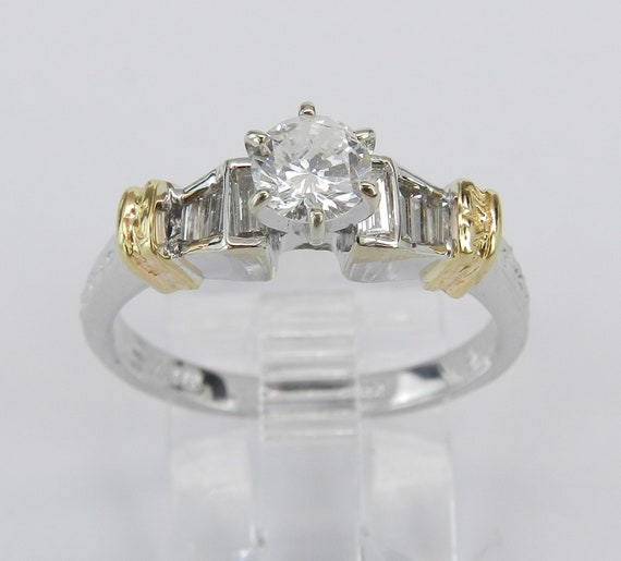 Diamond Engagement Ring 14K White and Yellow Gold Size 7