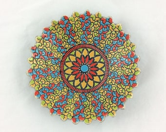 Mandala dish (red, blue, green, yellow)