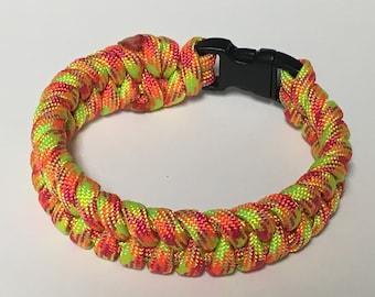 Handmade Fishtail Knot Paracord Bracelet Rainbow Sherbet 550 American Made Paracord