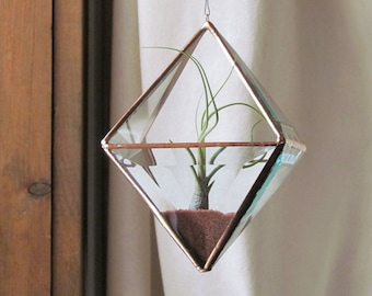 Geometric Air Plant Holder Stained Glass Hanging Terrarium Clear and Copper Glass Triangles Pyramid Planter Glass Vase