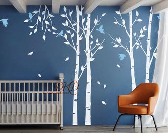 Wall Decal Tree Tree decal Set branch Forest Tree wall decal Nursery wall art Kids room decals-Tree with birds-Set of 4-DK249 : tree wall decall - www.pureclipart.com