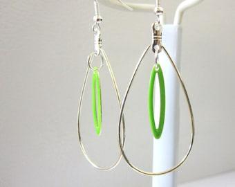 Tear Drop Hoop Earrings Lime Green Enamel Earrings