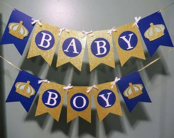 Baby Boy, Baby Shower Banner,Royal,Crown, Navy and Gold, Boy