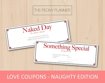 LOVE COUPONS - Naughty Edition | Printable, Digital, DIY | Gifts for Valentine's Day, Anniversaries, Girlfriend, Boyfriend | Cute, Romantic