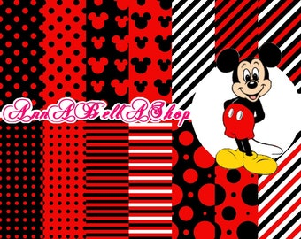 80% OFF SALE Mickey Mouse 2 - digital paper, scrapbook papers, wallpaper, mickey background, Card Design.