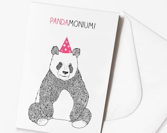 Funny Panda Birthday Card - 'Pandamonium' Funny Pun Birthday Card