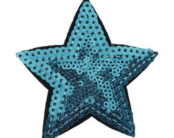 Patch applique fabrics in blue sequin star