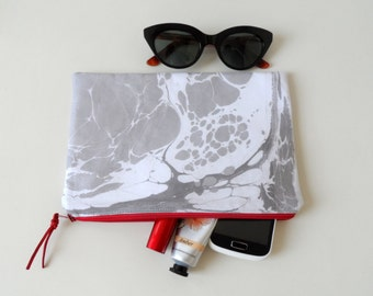 Monochrome Clutch, White Gray Hand Marbled Zip Pouch , everyday bag