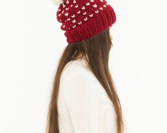 Chunky Fair Isle Knit Hat, Pom Pom Slouchy Wool Beanie, Ribbed Knitted Slouch Heart Toque, Women's Handmade Winter Accessory / All Sizes