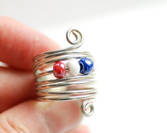 Patriotic Jewelry, Fourth of July, Wire Ring, Beaded Ring, Funky Ring, Silver Metal Ring, Red  White and Blue, Independence Day - Wild Child