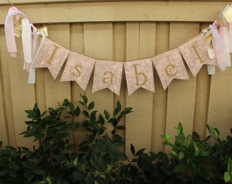 Shabby chic pink and gold personalized banner