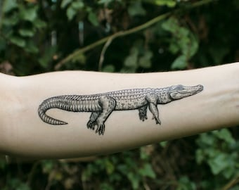 Alligator Temporary Tattoo, Crocodile Tattoo, Black Ink Design, Giant Lizard, Animal Tattoo, Nature Tattoo