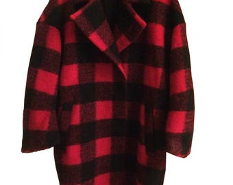 Red Black Check Wool Coat
