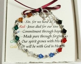 Salvation Bracelet - Handmade Sterling Silver and Swarovski Crystal Beaded Salvation Bracelet, Mother's Day Gift, Heirloom Bracelet